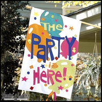 """The Party is Here!"" Decorative Flag - 45""x29"""