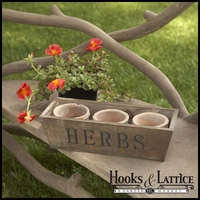 Three Clay Moss colored Pots with Wood Crate