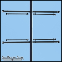 Trapeze Banner Two-Way Bracket, Any Size/Shape Pole Mount for 24in.W Banner