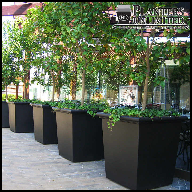 Outdoor Commercial Planters Tuscana tapered square planter click to enlarge workwithnaturefo
