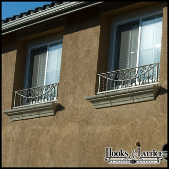 Umbria Faux Balcony Railing w/ Scroll Work & Balusters