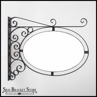 "Wall Mount Oval Sign Frame w/ Scroll 26"" x 17"" 