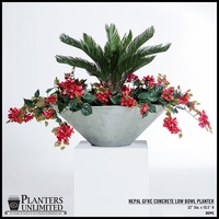 Weathered Stone Low Bowl Planters