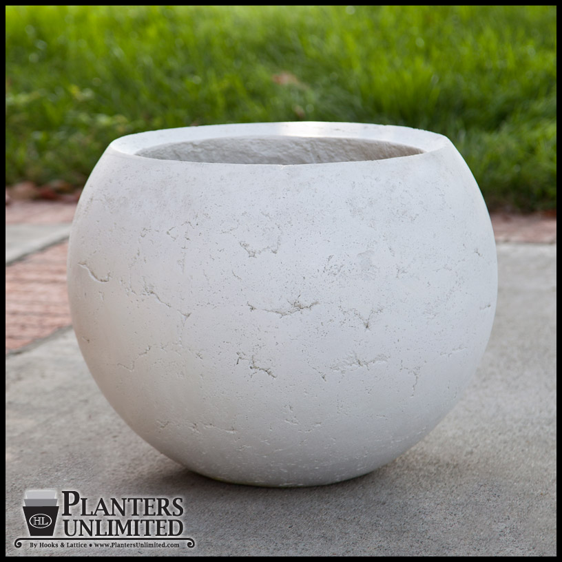 Weathered Stone Round Planters To Enlarge