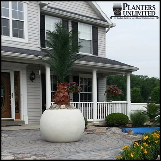 Weathered Stone Round Planters