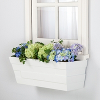 26in. White Brickton Fiberglass Window Box