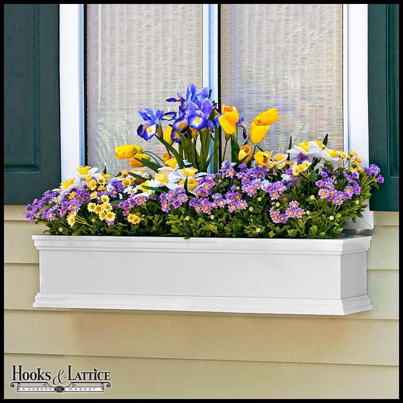 Lightweight stylish fiberglass white window boxes hooks lattice its easy to give your home a more tailored put together look with our laguna fiberglass white window boxes each box has a stylish exterior with mightylinksfo