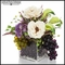 White Peony Grape Arrangement in Glass Vase