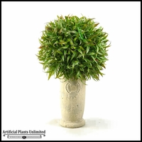 Wild Grass Ball in Tall Ceramic Planter, 17 in.