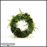 Wreath with Mixed Aloe, Echeveria, and Agave, 18 in.