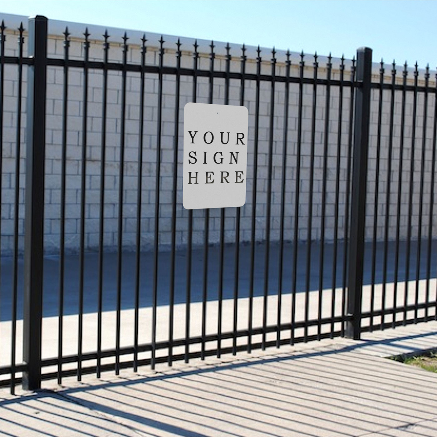 Wrought iron fence sign holders for 6 48 signs sign bracket store wrought iron fence sign holder click to enlarge baanklon Choice Image