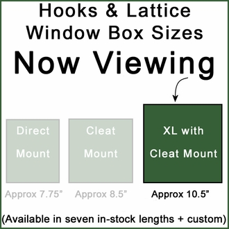 "XL Hampton Premier Window Boxes w/ ""Easy Up"" Cleat Mounting System"