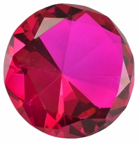 2.5 Inch Hot Pink Diamond Paperweight 60mm
