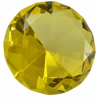2.5 Inch Yellow Diamond Paperweight 60mm