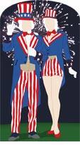 Aunt and Uncle Sam Cardboard Cutout Life Size Standup