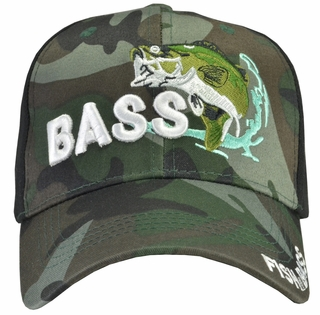 Bass Fishing Black Camo Hat - Click to enlarge