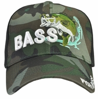 Bass Fishing Black Camo Hat