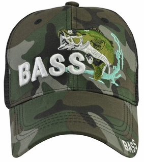 Bass Fishing Camo Mesh Hat - Click to enlarge