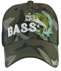 Bass Fishing Camo Mesh Hat