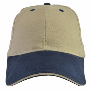 Khaki Baseball Cap blue brim (bill) with Adjustable Strap (2 PACK)  Super sale for two  - Click to enlarge