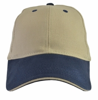 Khaki Baseball Cap blue brim (bill) with Adjustable Strap (2 PACK)  Super sale for two