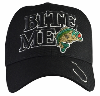 Bite Me Bass Fishing Black Hat - Click to enlarge