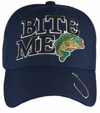 Bite Me Bass Fishing Blue Hat