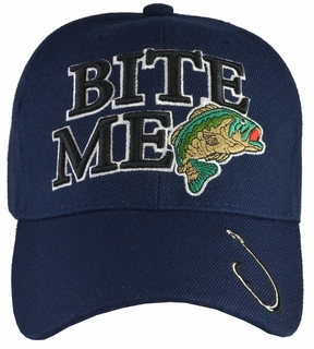 Bite Me Bass Fishing Blue Hat - Click to enlarge