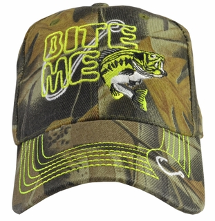 Bite Me Fishing Camo Baseball Hat w/ Neon Embroidery - Click to enlarge