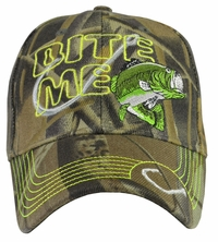 Bite Me Fishing Camo Baseball Hat w/ Neon Embroidery