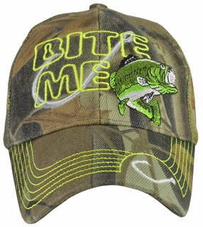 Bite Me Fishing Camo Trucker Cap w/ Neon Embroidery - Click to enlarge