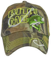 Bite Me Fishing Camo Trucker Cap w/ Neon Embroidery
