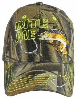 Bite Me Trout Fishing Camo Baseball Hat - Click to enlarge