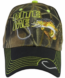 Bite Me Trout Fishing Camo Baseball Hat with Black Brim - Click to enlarge
