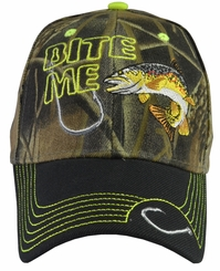Bite Me Trout Fishing Camo Baseball Hat with Black Brim