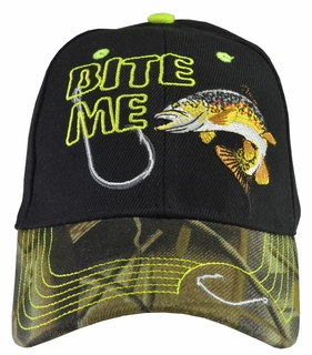 Bite Me Trout Fishing Black Baseball Hat Camo Brim - Click to enlarge