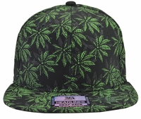 Black and Green Pot Leaf Hat