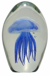 Blue Glass Jellyfish 4.5 Inch Glow in the Dark Paperweight
