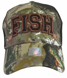 Born To Fish Forced To Work Black Hat with Camo Brim - Click to enlarge