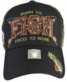 Born To Fish Forced To Work Camo Hat with Black Brim - Click to enlarge