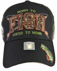 Born To Fish Forced To Work Camo Hat with Black Brim