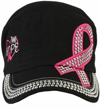 Breast Cancer Awareness Hat Black Hope With Rhinestones