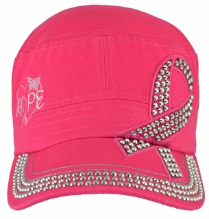 Breast Cancer Hope Awareness Hot Pink Hat - With Rhinestones - Click to enlarge