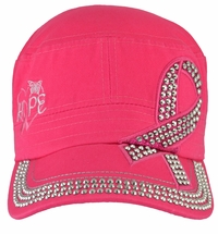 Breast Cancer Hope Awareness Hot Pink Hat - With Rhinestones