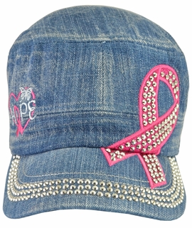 Breast Cancer Hope Awareness Denim Hat - With Rhinestones - Click to enlarge