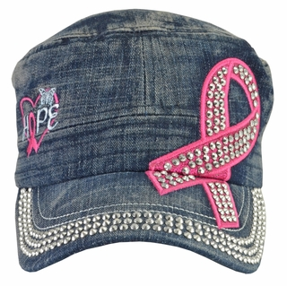 Breast Cancer Hope Awareness Dark Denim Hat - With Rhinestones - Click to enlarge