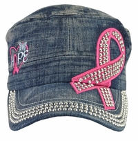 Breast Cancer Hope Awareness Dark Denim Hat - With Rhinestones