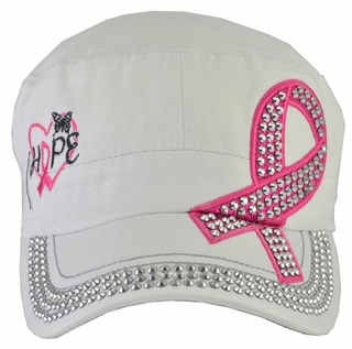 Breast Cancer Hope Awareness White Hat - With Rhinestones - Click to enlarge
