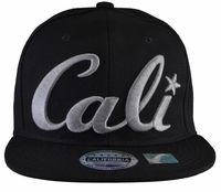 Cali Black Hat Black Brim Grey Embroidered Snapback Hat