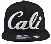 Cali Black Hat Black Brim White Embroidered